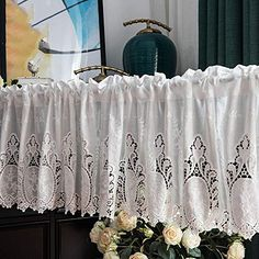 SZYW Kitchen Curtains Retro Half Curtain Cotton Short Curtain Lace Cafe Curtain Embroidery Net Curtain White Curtains European Rural Style Half Curtains, Canopy Curtains, Short Curtains, Magnetic Curtain Tie Backs, Drapery Tie Backs, Vignette Design, Flower Curtain, Kitchen Valances, Printed Curtains