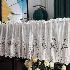 SZYW Kitchen Curtains Retro Half Curtain Cotton Short Curtain Lace Cafe Curtain Embroidery Net Curtain White Curtains European Rural Style Half Curtains, Canopy Curtains, Short Curtains, Magnetic Curtain Tie Backs, Drapery Tie Backs, White Cafe, Flower Curtain, Printed Curtains