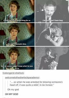 Thais is actually amazing because Sherlock didn't save mrs hudsons hus because he wasn't sentimental for her at the time. He saved Mary because John loved her and Sherlock will do anything to make sure John is happy, even if it isn't with him. Sherlock Bbc, Sherlock Fandom, Johnlock, Martin Freeman, Benedict Cumberbatch, Sherlock Cumberbatch, Vatican Cameos, Mrs Hudson, Bae