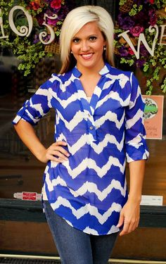 """Samantha"" Blouse in Royal Blue.  Also available in Red.  $36.99.  S, M, L, XL, 2X, 3X.  Available at 105 West Boutique in Abbeville, SC.  (864) 366-WEST.  Shipping $5."