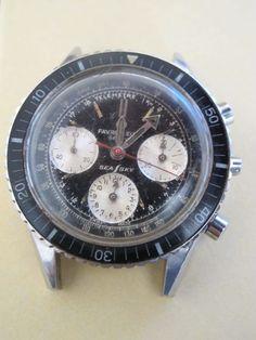 Vintage 60s FAVRE LEUBA SEA SKY 40mm Diver's Chronograph Valjoux 72 FOR REPAIR