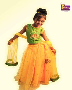 PrinceNPrincess E-Commerce online Shopping - Kids Green Yellow Grand CROP TOP Lehenga Choli Prince N princess Kids Lehenga Choli, Ghagra Choli, Pathani Kurta, Cute Baby Dresses, Yellow Lehenga, Pink Kids, Prince And Princess, Party Gowns, Pink Yellow