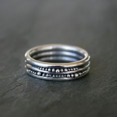 Sterling Silver Granulation Ring Wide Band Ring One by KiraFerrer, $75.00