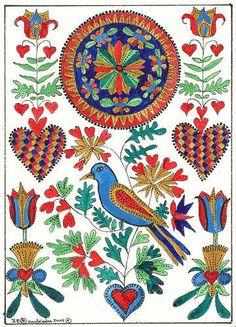 ACEO Print Fraktur Bird Hearts Flowers Folk Art by THEODORADESIGNS, $5.00