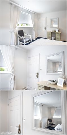 White is always in style, so are curtains. Combined with blackout roller blinds make a perfect combination for a stylish look and extra privacy. Blinds For Windows, Curtains With Blinds, Made To Measure Blinds, White Curtains, Roller Blinds, Stacked Washer Dryer, Kitchen Cabinets, Home Appliances, Mom