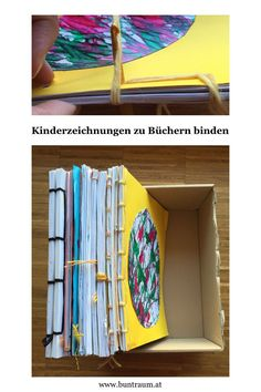 Tie children's drawings to books - Basteln - Baby Diy Cute Diy Crafts, Wood Crafts, Recycled Crafts, Paper Crafts, Diy For Kids, Crafts For Kids, Arts And Crafts, Doodle Art, Diy Bebe