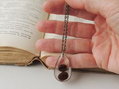 Coffee Beans Necklace Real Coffee Beans in a by JustKJewellery, £12.50