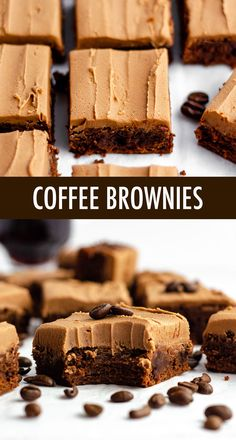 Rich scratch brownies flavored with concentrated coffee and topped with a creamy mocha frosting. Dessert Bars, Coffee Dessert, Coffee Drinks, Creative Desserts, Just Desserts, Delicious Desserts, Mini Dessert Recipes, Fancy Desserts, Recipes Dinner
