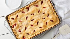 Rhubarb and strawberries are the perfect combination in this easy-to-make slab pie.