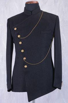 Wedding Suits Black Jute Jodhpuri Suit With Bandhgala - African Dresses Men, African Attire For Men, African Wear, Nigerian Men Fashion, Indian Men Fashion, Mens Fashion Suits, Mens Suits, Wedding Dress Men, Wedding Suits