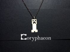 925 sterling silver Minecraft Creeper- inspired pendant!
