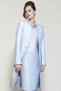 Brocade Dress Coat with Cord Trim and Frogging in Pale Sky Blue - Vicky