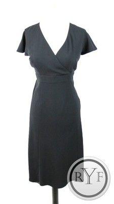 New Ann Taylor Loft Black Cap Sleeve Knee Length Aline Dress Gown s 4 | eBay
