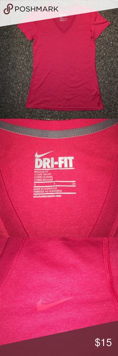 NIKE V-neck T-shirt cherry red small NIKE * V-neck * T-shirt * small * NWOT * DRI-FIT Nike Tops Tees - Short Sleeve