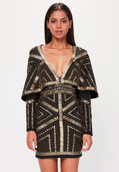 Missguided - Peace   Love Black Kimono Embellished Dress| #Missguided #Dress #Sponsored