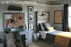 Love the vintage + industrial look of this little boy's bedroom, especially the headboard and overhead light via Chic on a Shoestring Decorating blog. Description from pinterest.com. I searched for this on bing.com/images