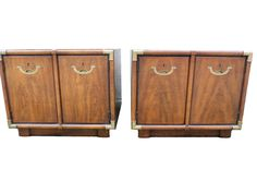 Superieur Pair 2 Drexel Heritage Accolade Campaign End Table Nightstand Cabinet  Vintage