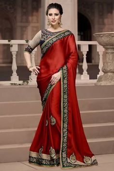 # designer # sarees @ http://zohraa.com/red-satin-saree-ay-sr- ag-6010.html # celebrity # zohraa # onlineshop # womensfashion # womenswear # bollywood #look # diva # party # shopping # online # beautiful # beauty #glam # shoppingonline # styles # stylish # model # fashionista # women # lifestyle #fashion # original # products # saynotoreplicas