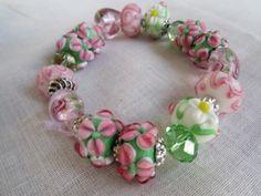 Lampwork Bracelet Stretch Pink Heart Green | Designsoffaithandjoy - Jewelry on ArtFire