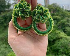 Diy Lace Earrings, Blue Tassel Earrings, Statement Earrings, Etsy Earrings, Crochet Earrings, Make Paper Beads, Thread Jewellery, Bead Shop, Boho