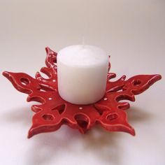 Scandinavian red snowflake dish for a candle holder, soap dish, holiday decor . . . by maryjudy