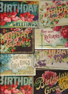 12 Greetings ~Large Letter BIRTHDAY ~Happy Birthday Vintage Postcards Lot-hhh732