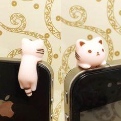 Adorable Stripe suspendus rose chat chaton Kitty poussière prise 3,5 mm téléphone accessoire charme Headphone Jack écouteur Cap iPhone 4 4 s Samsung HTC