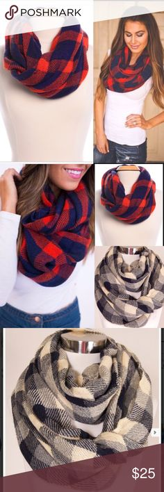 ❣NEW IN❣ Navy Red Checkered Chic Infinity Scarf Adorable new checkered circle scarf. Perfect for the fall! Acrylic. Available in red or black. Accessories Scarves & Wraps