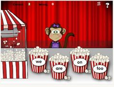Your students will have fun learning dozens of common sight words with Popcorn Words from Fun 4 The Brain. Listen to the word and click on the correct popcorn container. If you get enough correct, you will promoted to manager of the movie theater