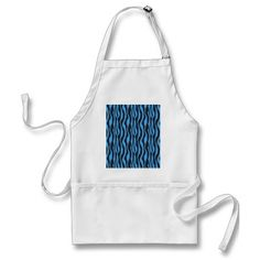 Blue Zebra Striped Apron