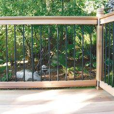 Deck railing isn't just a security function. It can add a stunning aesthetic to frame a decked location or patio. These 36 deck railing ideas show you just how it's done! Deck Railing Kits, Metal Deck Railing, Deck Railing Design, Pergola Kits, Patio Design, Railing Ideas, Porch Railings, Fence Design, Sistema Solar