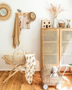 Baby Bedroom, Baby Room Decor, Nursery Room, Baby Rooms, Girl Nursery, Bohemian Baby Nurseries, Bohemian Nursery, Natural Nursery, Nursery Neutral