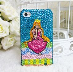 Handmade Bling Bling Princess Crystal Rhinestone case cover for iphone5 iphone4 and 4S
