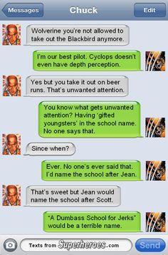 Professor X texting Wolverine