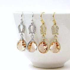 Rose Champagne Faceted Glass Briolette Earrings by LePetitRuban, $46.00