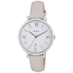 Fossil's founding principal of bringing fashion and function together is visible in their unique styles. This women's watch from the Jacqueline collection features a white leather strap and silver dia