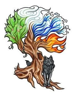 Here's 's completed full-color tattoo design of her elemental tree (earth, wind, water, fire) and blue-eyed, black wolf. That tree bark makes me happy. Elemental Tree And Wolf Tattoo Wolf Tattoos, Tribal Wolf Tattoo, Tribal Tattoos, Tatoos, Guy Tattoos, Thigh Tattoos, Four Elements Tattoo, 4 Elements, Element Tattoo