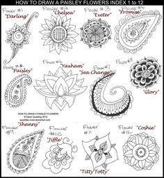 How to Draw Paisley Flowers Index 1 to 12 by Quaddles-Roost