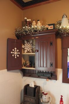 Just love this cupboard and display--My Yellow Farmhouse blog again.