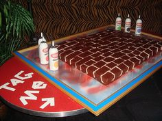 """Whom ever baked this adorable brick wall cake is a genius. To top that, they made Krylon frosting cans to """"get up"""" on this delicious creation. Happy birthday to me! More graffiti inspired baked goo..."""