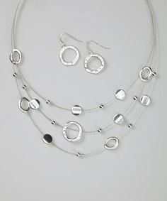 Look at this #zulilyfind! Silver Hammered Disc Necklace & Earrings #zulilyfinds