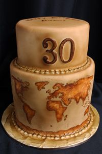 "Antique map cake.. but instead of the ""30"" it would have our last name :)"