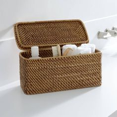 Sedona Honey Lidded Rectangular Tote - Crate & Barrel - $24.95 - domino.com