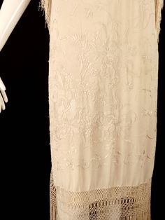 1920s Silk Embroidered Piano Scarf Evening Dress | From a collection of rare vintage evening dresses at https://www.1stdibs.com/fashion/clothing/evening-dresses/