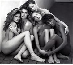 Stephanie Seymour, Cindy Crawford, Christy Turlington, Tatjana Patitz, and Naomi Campbell photographed by Herb Ritts