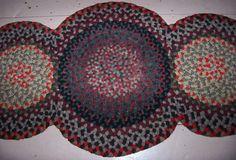 Vintage Antique Hand Handmade Wool Folk Art 3 Ring Braided Rug 55 X 22