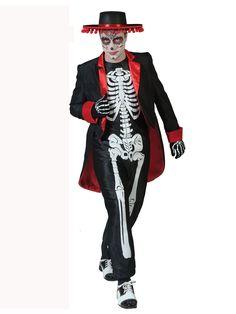 Disfraz de esqueleto mexicano hombre Día de los Muertos: Este disfraz de esqueleto del Día de los Muertos incluye traje y chaqueta (sombrero, maquillaje, guantes y zapatos no incluidos).El traje es negro con estampado de esqueleto blanco.El traje es...
