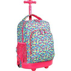 cafa2f1bc68 Girls School Wheeled Rolling  Backpack Kids Book-Bag Carry On Travel  Luggage Tote Kids