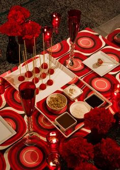 Love the table cloth and the idea of fondue at Valentines for the boys!