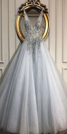 A Line V Neck Beaded Sequins Blue Tulle Long Prom Dresses, Blue Formal Dresses, V Neck Blue Evening Dresses - Bridal Gowns Simple Prom Dress, Cute Prom Dresses, Pretty Dresses, Beautiful Dresses, Event Dresses, Prom Dresses Long Modest, Beaded Dresses, Awesome Dresses, Dresses Dresses